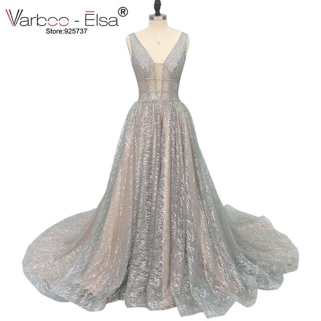 VARBOO_ELSA 2018 Silver Sparkly Long Evening Dress Sexy Double Deep V Neck Prom Dress Elegant Long Train Backless robe de soiree