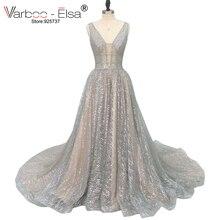 VARBOO_ELSA 2018 srebrny świecący długa suknia wieczorowa seksowna podwójnie głębokie dekolt w serek suknia elegancki długi pociąg Backless robe de soiree
