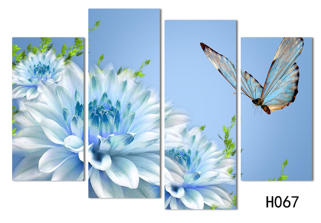 4 Panels Canvas White Flower With Butterfly Painting On Canvas Wall Art  Picture Home Decor FOU142