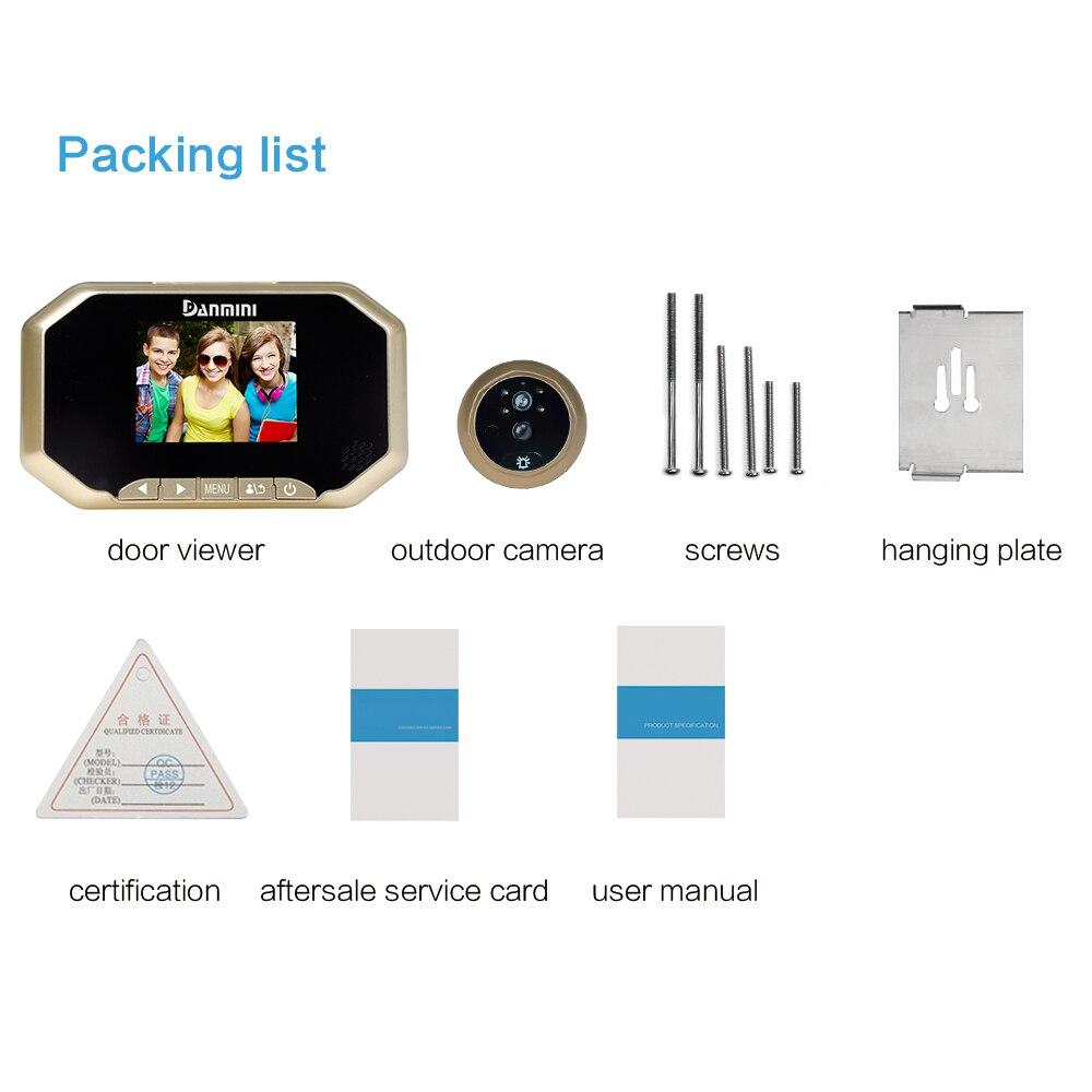 LCD 3.0 pouces numérique sonnette judas visionneuse caméra visionneuse PIR détection de mouvement porte oeil vidéo enregistrement Vision nocturne (Go