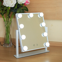 Led Make up mirror Standing vanity hollywood lighted Table mirror Metal Rotate 9 Dimmers Lamps maquillage princess espejo