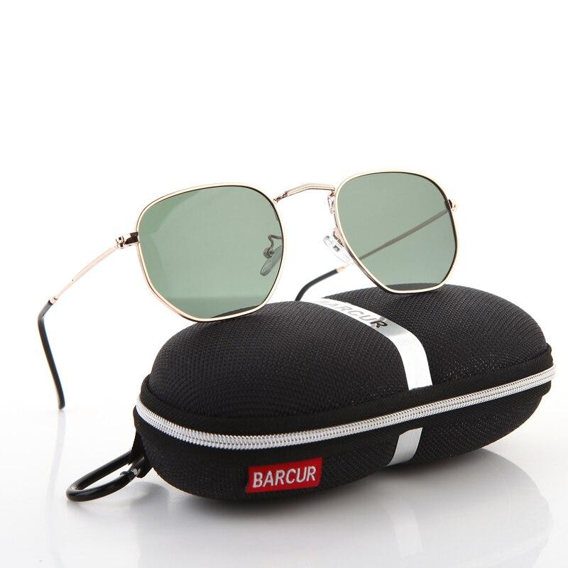 BARCUR UV400 Glas Objektiv Sonnenbrille Männer Retro Metall Hexagonal Runde sonnenbrille Frauen Vintage Brillen Oculos De Sol