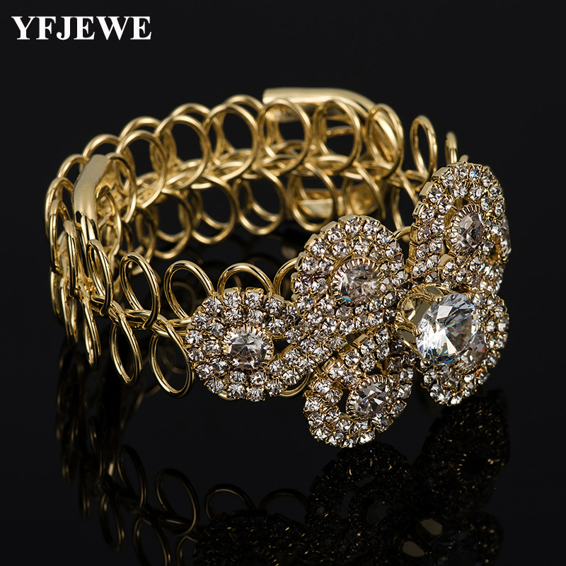 YFJEWE Crystal-Bracelets Wedding-Jewelry Gold-Color Bridal Bangles Women Luxury