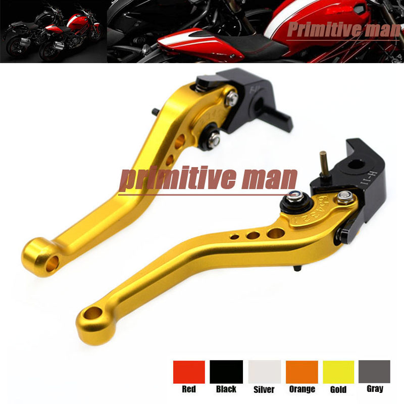 For DUCATI MONSTER 1200 14-15 MONSTER 1100 09-13 Motorcycle Accessories Aluminum short Brake Clutch Levers Gold billet alu folding adjustable brake clutch levers for motoguzzi griso 850 breva 1100 norge 1200 06 2013 07 08 1200 sport stelvio