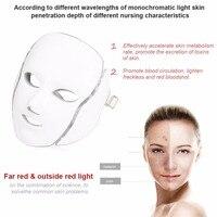 Светодиодный 7 Цвета свет микротоковая, для лица Устройство для приготовления маски Фотон терапия по омоложению кожи маска для лица и шеи от
