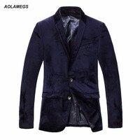 Mens Blazers Spring Autum Luxury Business Suits Blazer 2016 Slim Fit Black Velvet Men Casual Suit