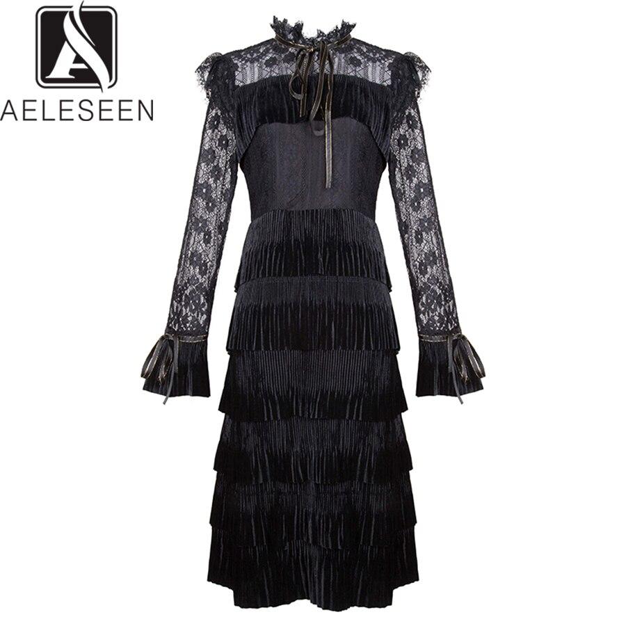 Plissé Photo 2019 Robes De Velours Genou Femmes Mode Nouveau Robe longueur Printemps Élégant Noir As Piste vert Aeleseen Dentelle waqRxUC