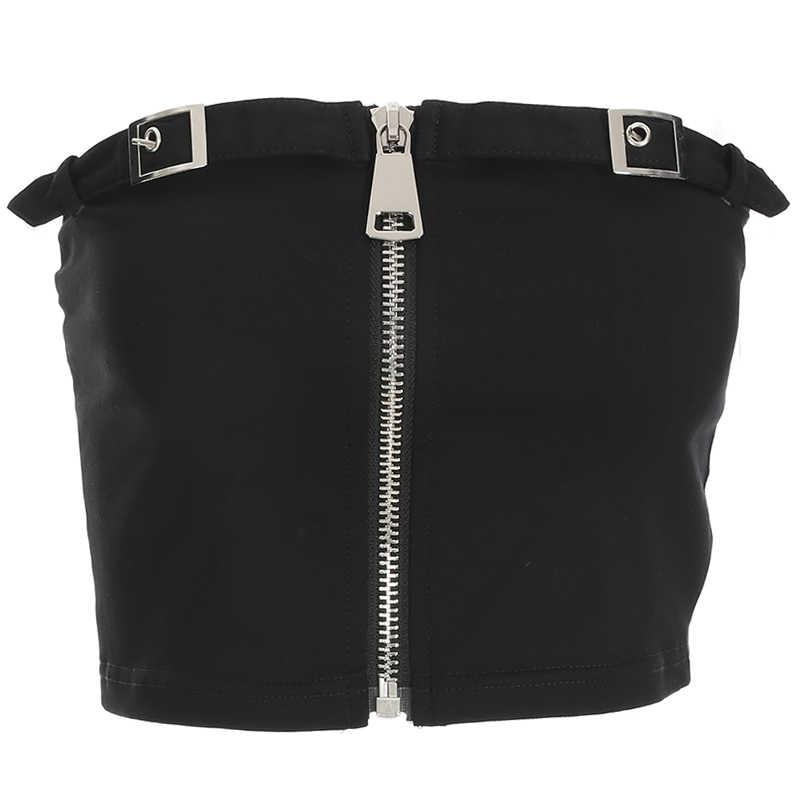 70e32e45ae6 ... HEYounGIRL Black Summer Bandeau Tube Top Boob Print Strapless Crop Tops  Wrap Chest Sleeveless Tees Shirt ...