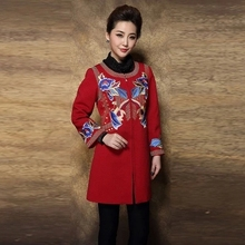 Winter Coat 2015 European Fashion High Quality Women's Brand Casual Full Sleeve Black/Red Embroidery Coat