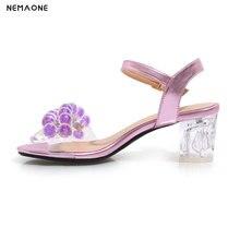 NEMAONE Women Sandals Ladies Summer Shoes Women Rhinestone high Heels Sandals Fashion large size 34-43