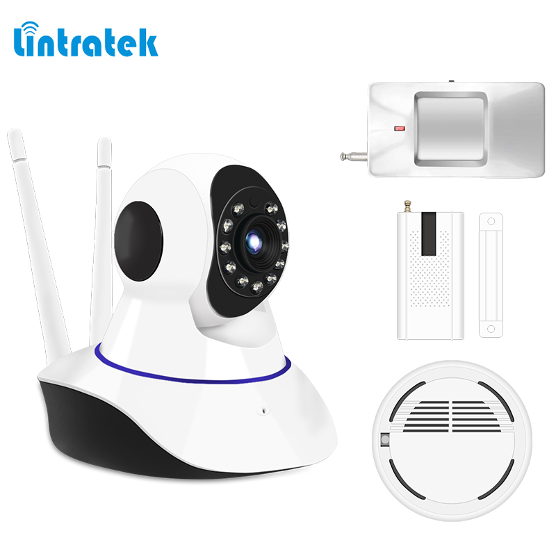 Alarm System kits hd 720P IP Camera with PIR Motion Sensor Smoke Detector Window Sensor Suitabe 433mhz GSM Home Alarm LINTRATEK neo coolcam nas pd02z new z wave pir motion sensor detector home automation alarm system motion alarm system eu us version