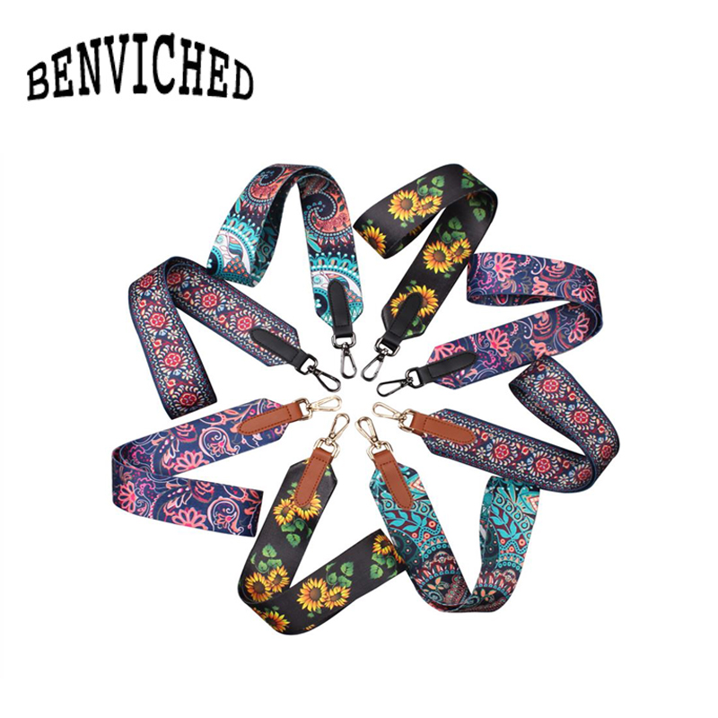 BENVICHED 2018 new national wind color ribbon bag hit color shoulder strap accessories fashion trend wide shoulder strap R201