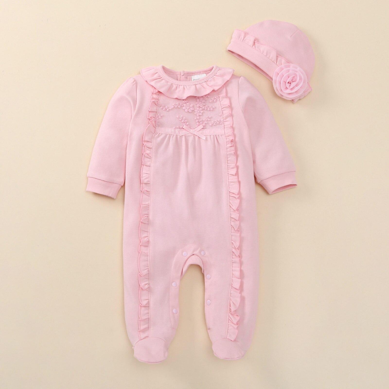 Одежда для новорожденных девочек, Осенний комбинезон с длинными рукавами, хлопковый кружевной комбинезон с шапочкой для маленьких девочек,...