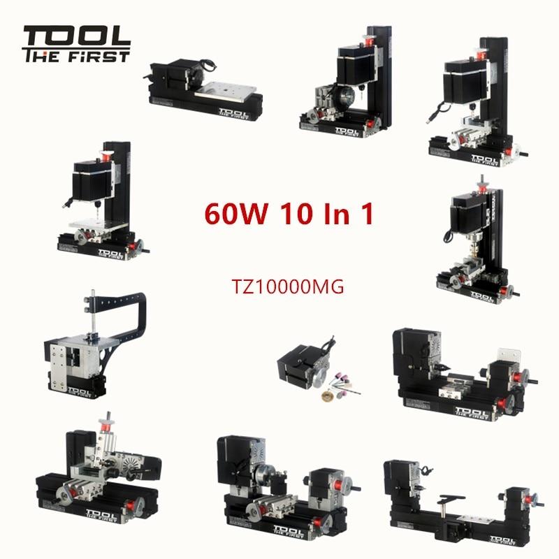 Thefirsttool TZ10000MG 10 In 1 DIY BigPower Mini Metal Lathe Kit 60W 12000r/min Motor, Standardized Children Education Best Gift