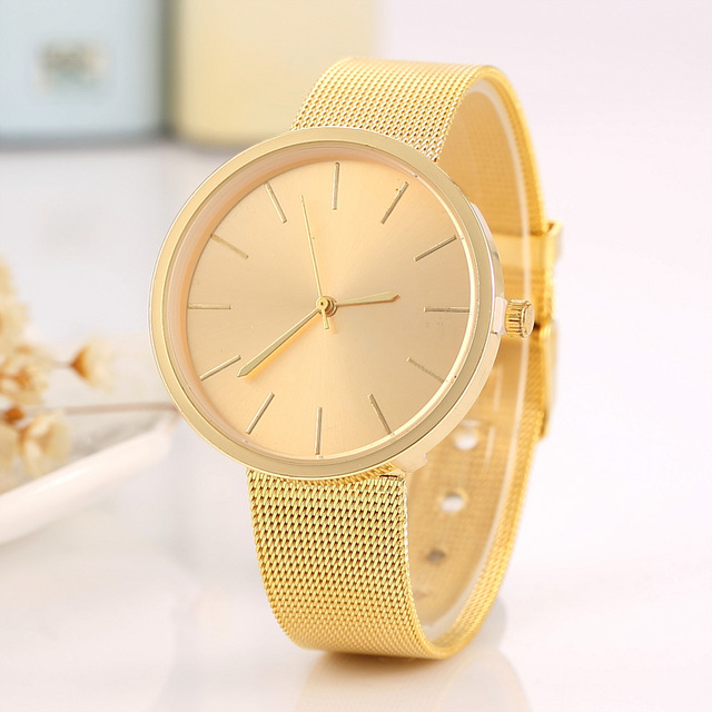 2018 Fashion Rose Gold Mesh Belt Women Watch Casual men's bussiness quartz-watch