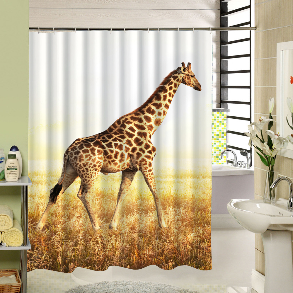 Cool shower curtain 3d animal tiger print fabric washable cloth liner cartoom pattern for kids bathroom curtain set decoration