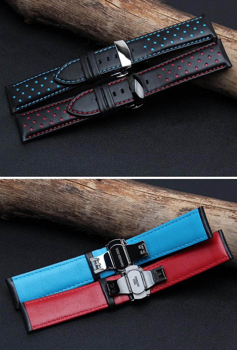 20mm 22mm 실제 소 가죽 수제 블랙 레드 블루 교체 손목 - 시계 액세서리 - 사진 3