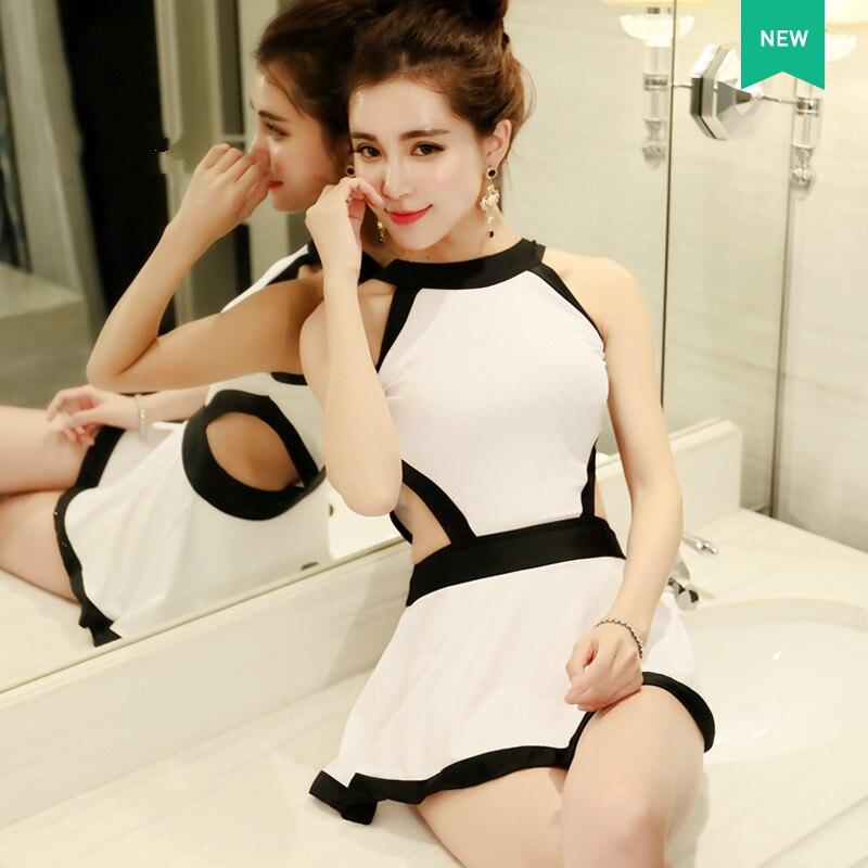 Mujeres del traje de baño Niñas Trajes de Baño Body Blanco Negro de Una Sola Pie