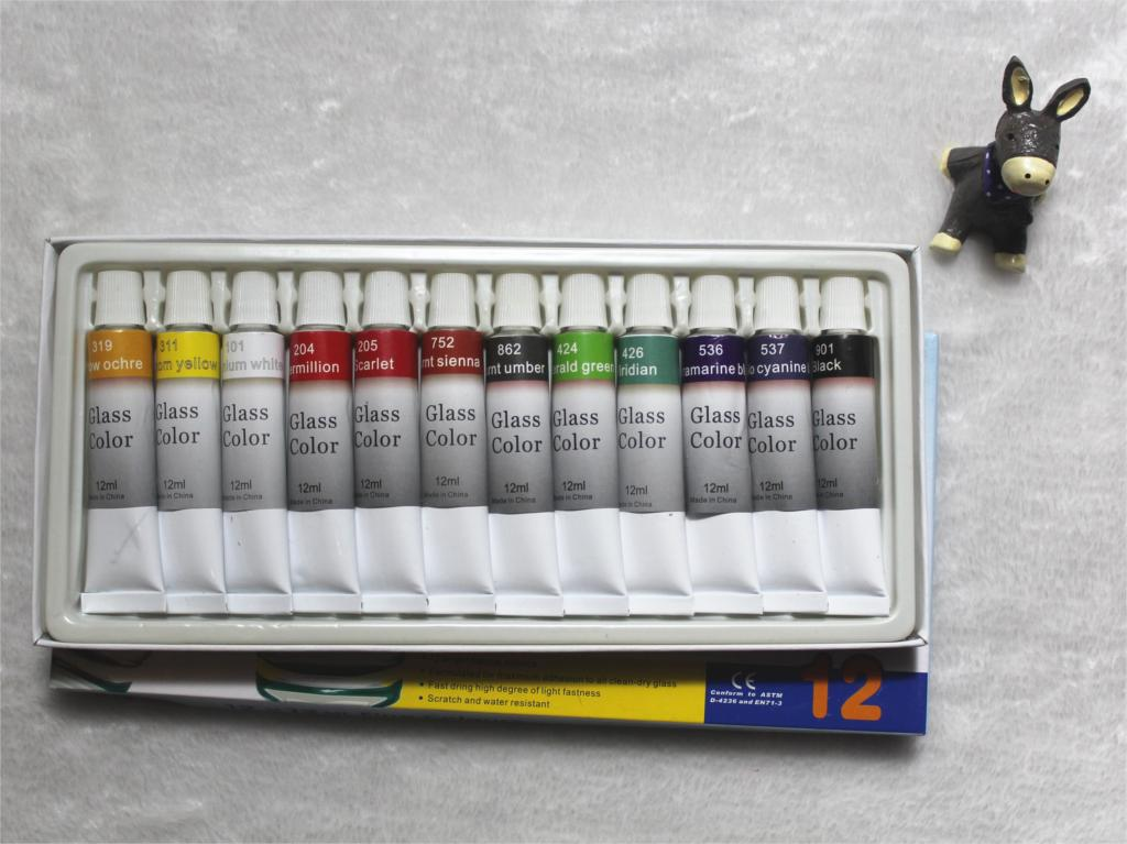 Color Glass and Acryl Paint - Set of 12 1