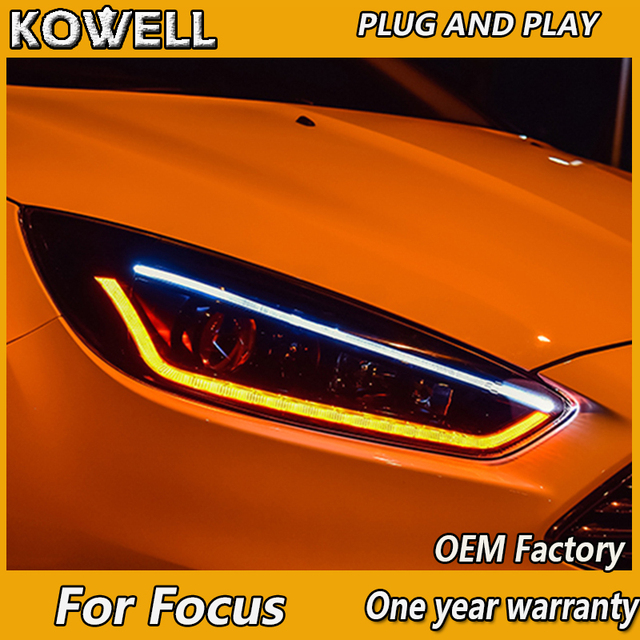 Kowell Car Styling For Ford Focus 2017 2016 2018 Headlights Led Headlight Drl Lens Double Beam Bi Xenon Hid Accessories