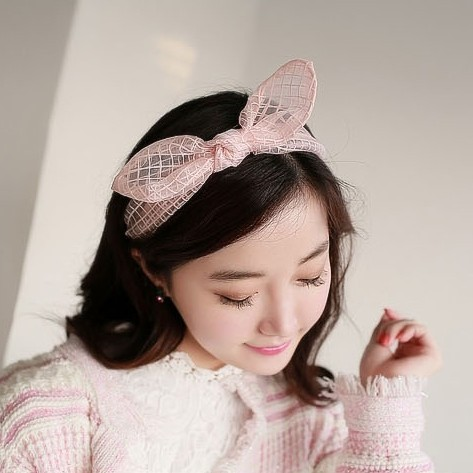 Korean hair jewelry bow hair bands rabbit ear hair band, free home delivery
