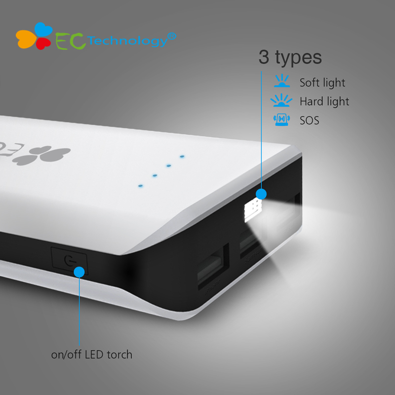 18650 Power Bank EC Technology Powerbank 20000mah High Capacity Portable Charger Smart Phone Batterie Externe With