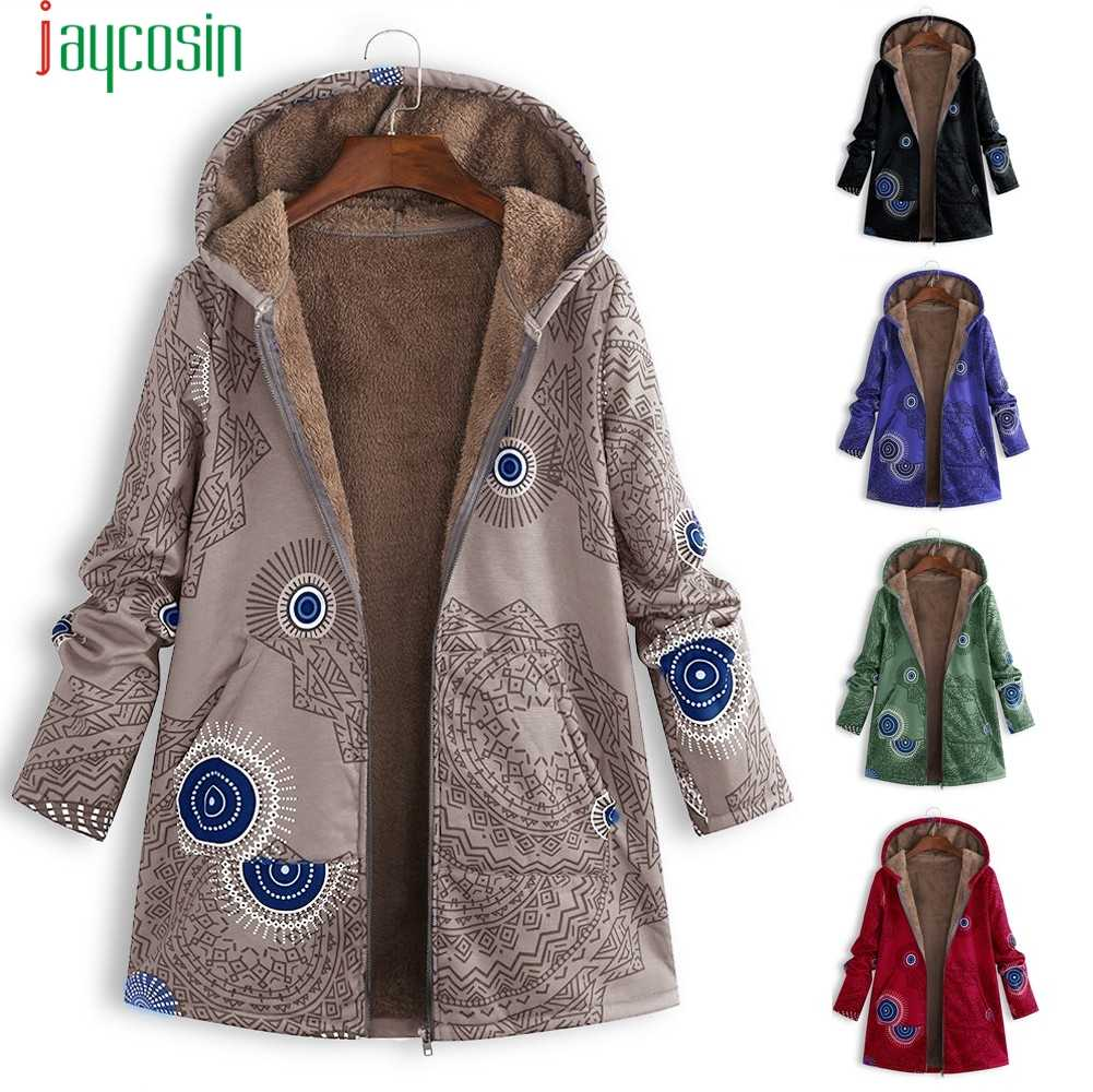 JAYCOSIN Jackets Plus size Women Vintage Floral pattern Outwear coats Warm windproof Women Hooded Clothes Oversize Cover Up   09