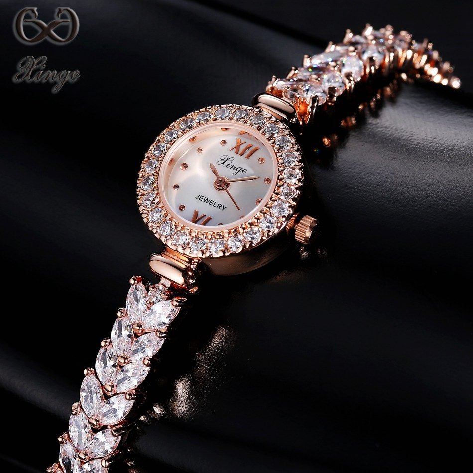 Xinge Brand High Quality 2017 New Crystal Zircon Bracelet Women's Watches Luxury Fashion Ladies Gold Quartz-watch Simple Clock xinge brand 2017 new arrival fashion