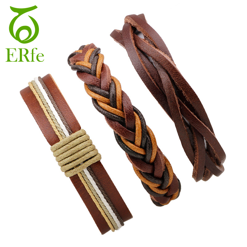 ER 3pcs/set Multi Layer Leather Bracelet Vintage Real Brown Multilayer Leather Friendship Braslet Male Jewelry Accessories LB002