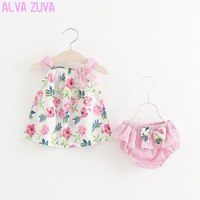 Hot Sale 2017 Summer Lovly Baby Girl Flower Printed Bowknot Tops Shorts Suit Toddler Girl Clothing