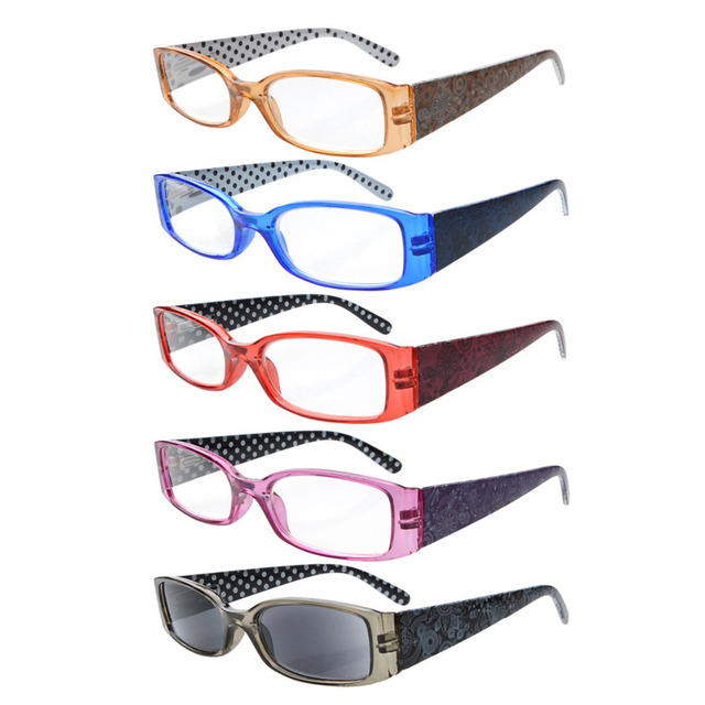 4007134043a R040P Eyekepper 5-Pack Spring Hinges Polka Dots Patterned Temples Reading  Glasses Sun Readers +