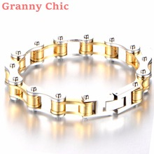 Granny Chic NEW Jewelry Metal Stainless Steel Biker Men's Womens Cuff Motorcycle Chain Bracelet 8 Inch,Color Gold Silver Gift