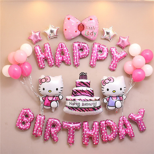 1set Hello Kitty Kids Happy Birthday Balons Party Decoration Set Balloons Foil Pink And Blue Globes
