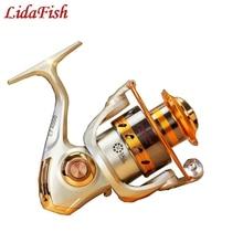 LIDAFISH 12 bearing metal rocker fishing reel Fish reel spinning fish fishing   Light champagne mirror green paint