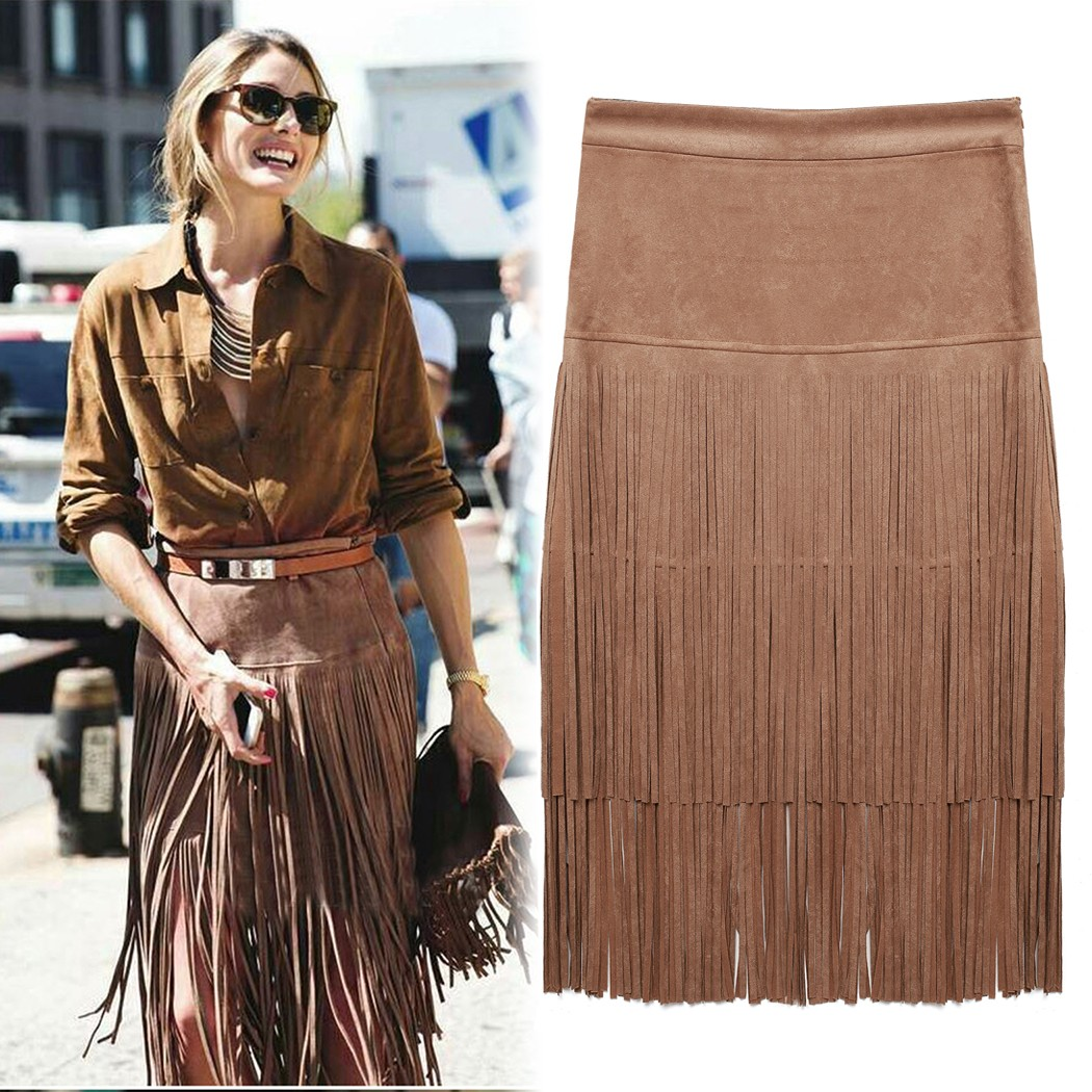 6a08660a478e1 2016 New Suede Leather Fringed Skirts Women Summer Autumn Plus Size Maxi Skirt  Fashion High Wiast Office Package Hip Saia Longa-in Skirts from Women s ...