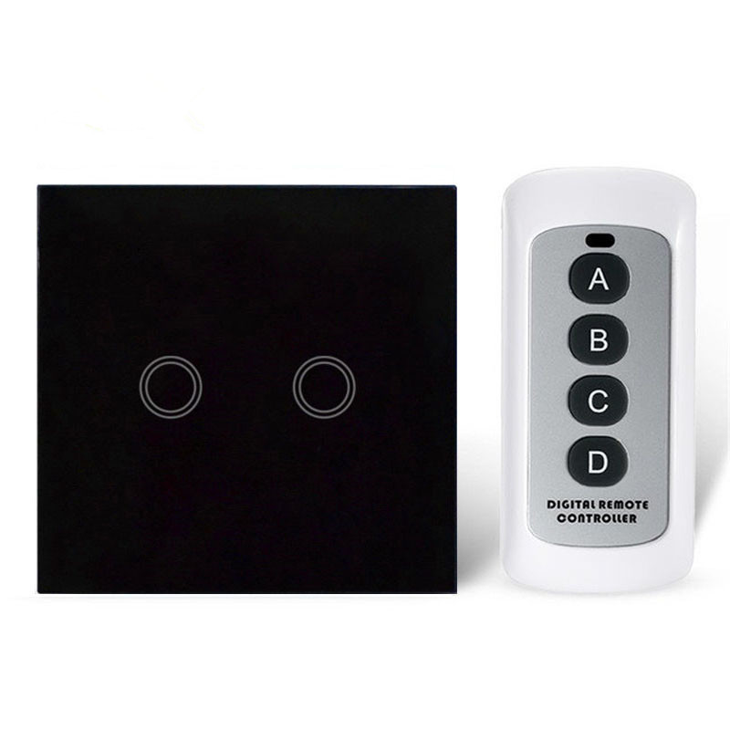 Manufacturer Remote Switch Black Glass Panel Smart Switches 220V EU / US  Standard 2Gang Remote Motion Sensor Light Switch us standard 2gang 1way wall touch switch white black crystal glass panel electrical switch smart home cnkou manufacturer