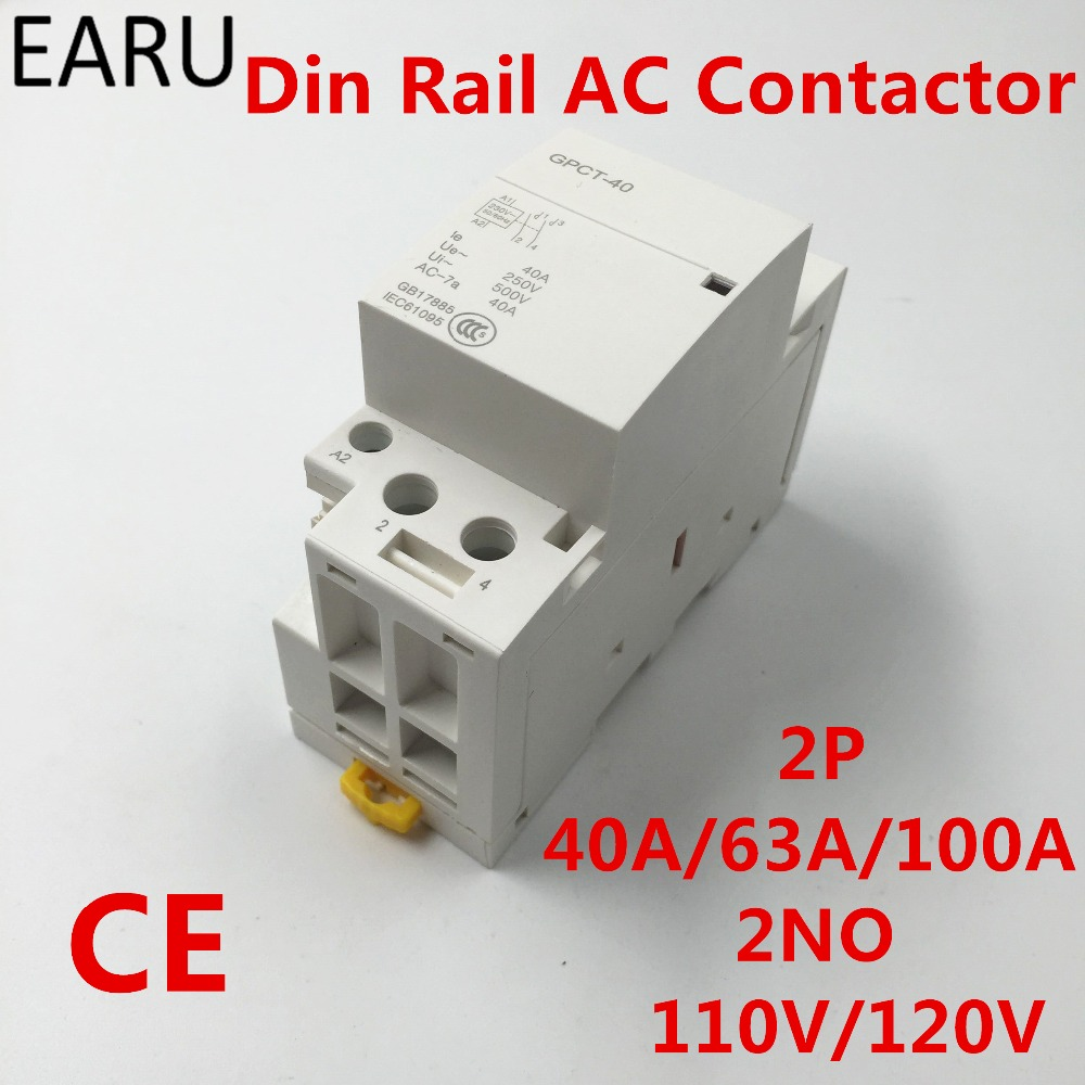 GPCT1 2P 40A 63A 100A 110V/120V 50/60HZ Din Rail Household Ac Contactor 2NO For Home Hotel ResturantGPCT1 2P 40A 63A 100A 110V/120V 50/60HZ Din Rail Household Ac Contactor 2NO For Home Hotel Resturant
