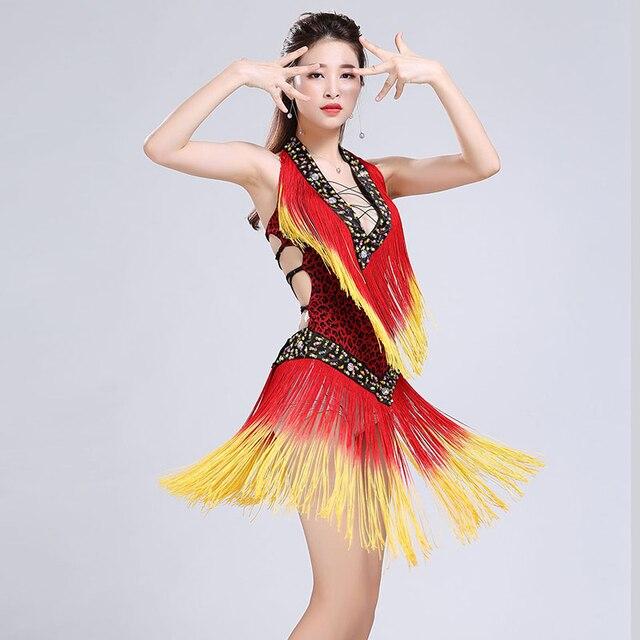2dfb68acbf40 Sexy Latin Dance Dress Deep high quality Leopard Print Intensive Gradient  Tassel Straps Beauty Back mini Dress