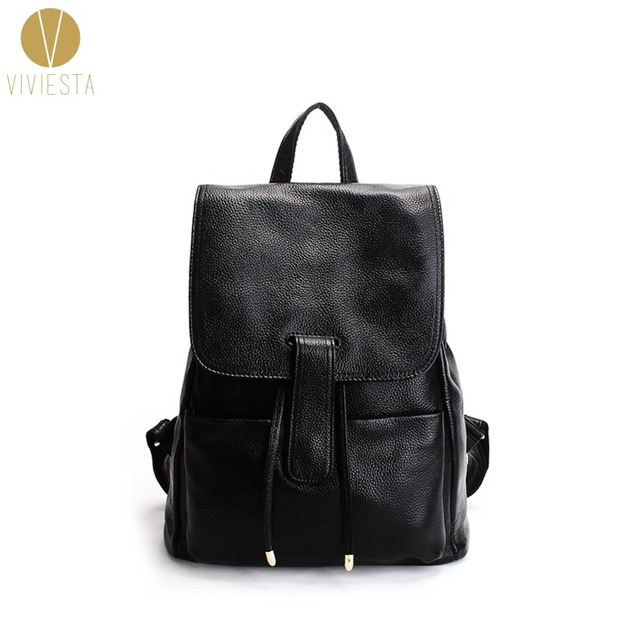 8ea1157844d REAL LEATHER HOOK DETAIL BACKPACK - Women s Men s Unisex Fashion Minimalist  Soft Natural Skin School Travel Laptop Bag Rucksack