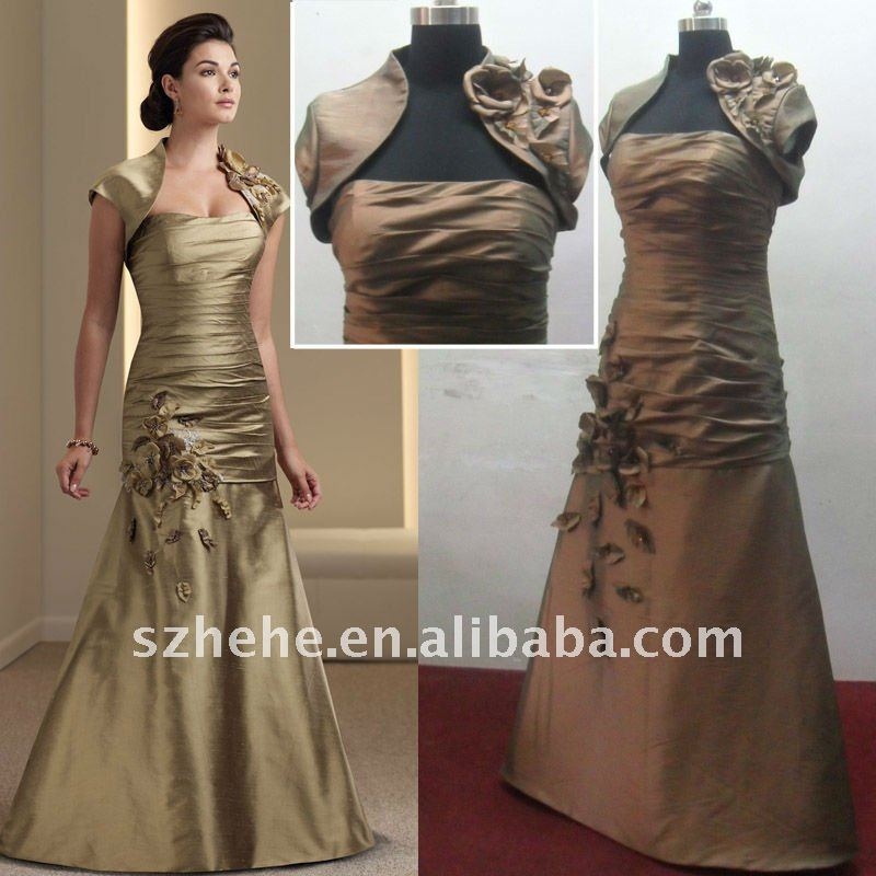 Whole Price Real Sample Golden Taffeta Mother Of The Bride Dress With Short Sleeve Jacket In Dresses From Weddings Events On