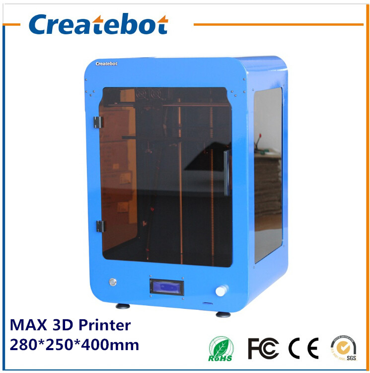 2015 New Big Build Size 280*250*400mm FDM Createbot MAX 3d Printer With Dual Extruder and Heatbed