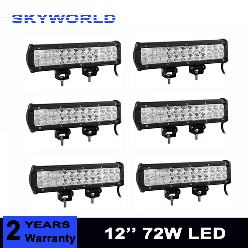 6pcs 12inch 72W Offroad Led Work Light Bar Combo Beam 12V 24V for Truck SUV Boat ATV 4X4 4WD Auto Driving Light new f189010 second locked printhead dx7 solvent based uv print head for epson stylus pro b300 b310 b500 b510 b308 b508 b318 b518