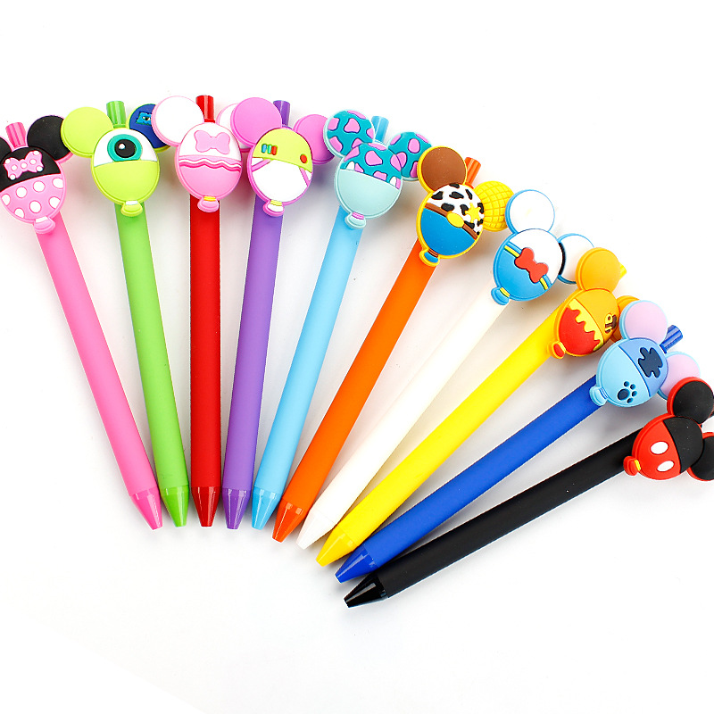 10pcs/lot 0.5mm Candy Colors Gel Pen Set Papelaria Cartoon Mickey Mouse Black Ink Stationery Office Caneta School Supplies ZXB19