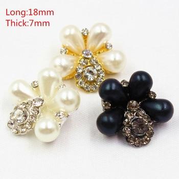 165187,3 pcs 21mm 3 색 선택 라인 석 진주 상감 금속 단추 꽃 의류 액세서리 쥬얼리 액세서리 diy