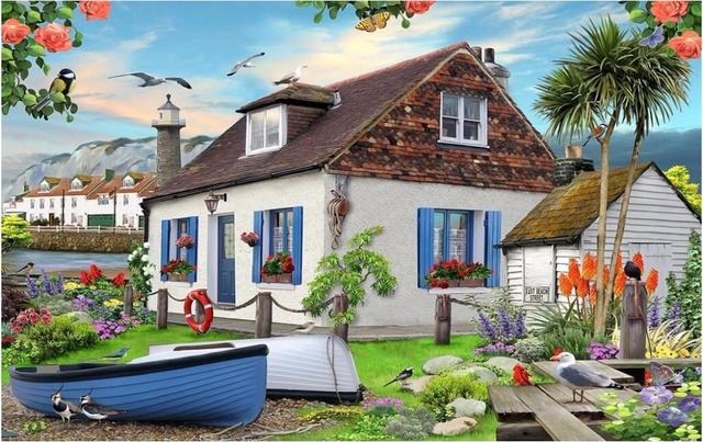 Custom Mural Photo 3d Wall Paper Seaside English Village Beach Garden Boat Decor Painting