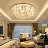 Modern minimalist round crystal ceiling lamp atmosphere led bedroom lamps personality discoloration restaurant study lighting