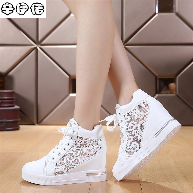 7cm High Fashion cutouts lace white wedges shoes hollow floral print breathable platform women casual mesh shoes zapatos mujer 2017 summer women shoes casual cutouts lace canvas shoes hollow floral breathable platform flat shoe white black 23 25 5cm