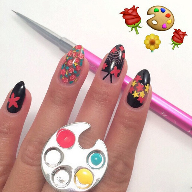 New Nail Art Beauty Manicure Ring Finger Palette Makeup Mixing