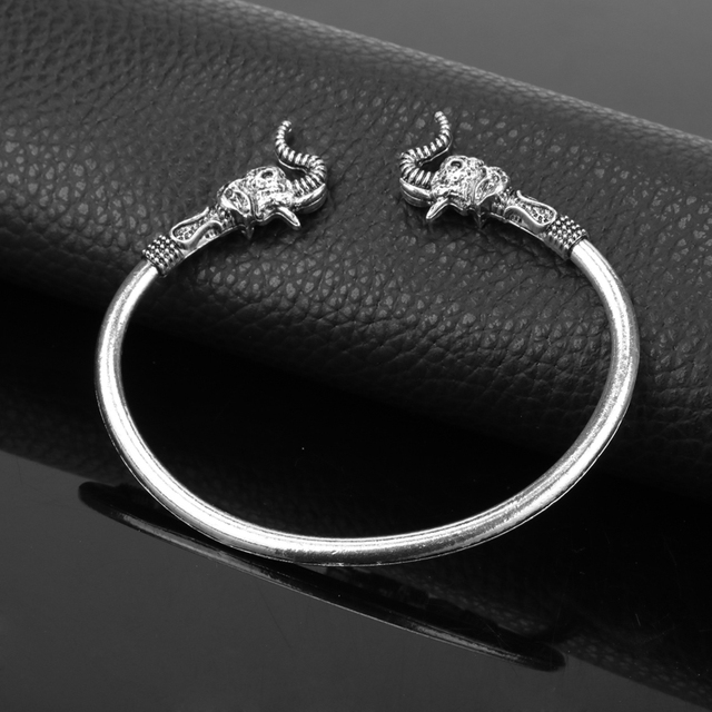 dongsheng Fashion Elephant Head Vikings Vintage Accessory Bangels Bracelets for women men Smooth Bangle Metal Jewelry -25 3