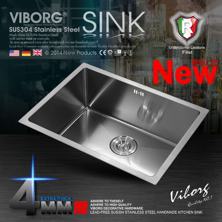 (720X400X220 Mm)VIBORG Deluxe Extra Thick 304 Stainless Steel Single Bowl Kitchen  Sink